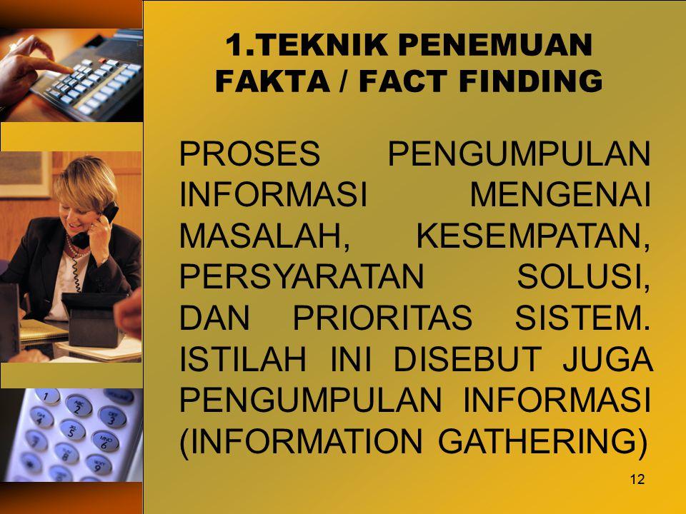 1.TEKNIK PENEMUAN FAKTA / FACT FINDING