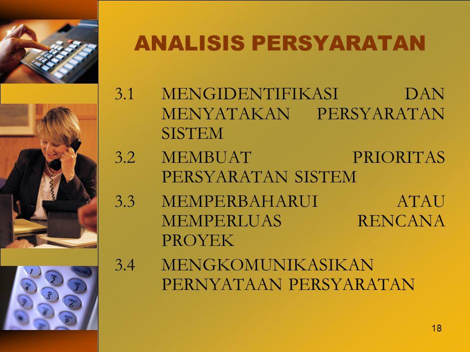 ANALISIS PERSYARATAN 3.1 MENGIDENTIFIKASI DAN MENYATAKAN PERSYARATAN SISTEM. 3.2 MEMBUAT PRIORITAS PERSYARATAN SISTEM.