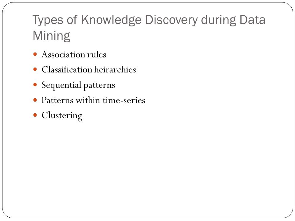 Types of Knowledge Discovery during Data Mining