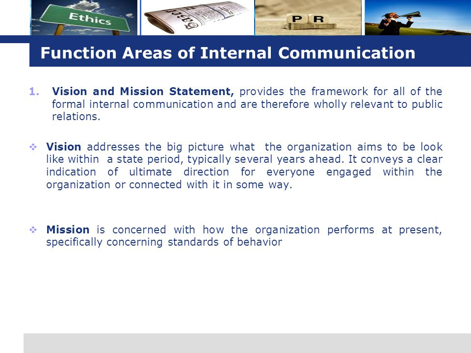 Function Areas of Internal Communication