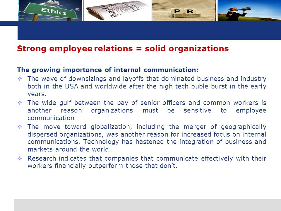 Strong employee relations = solid organizations