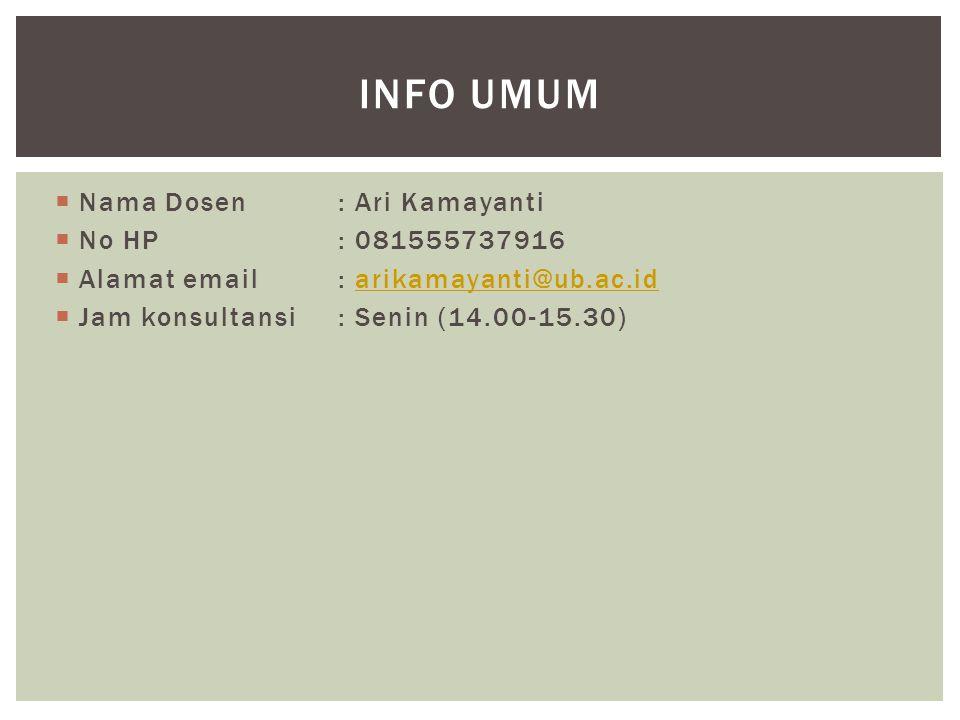 Info Umum Nama Dosen : Ari Kamayanti No HP : 081555737916