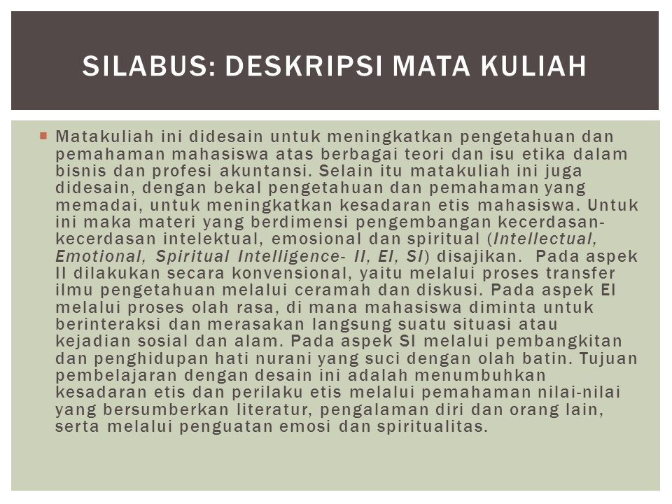 SilaBUS: Deskripsi MATA KULIAH