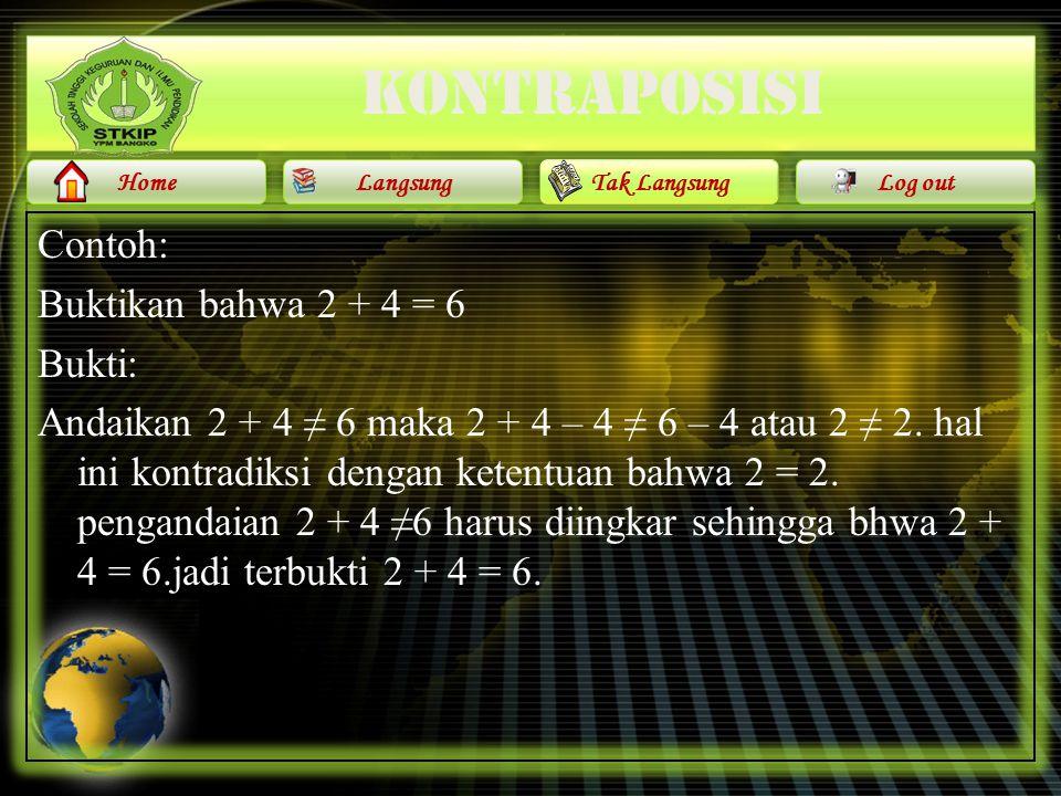 kontraposisi Contoh: Buktikan bahwa 2 + 4 = 6 Bukti: