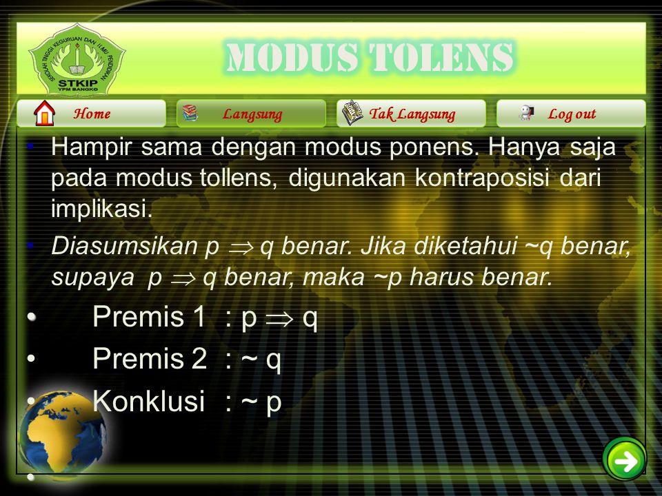 Modus tolens Premis 1 : p  q Premis 2 : ~ q Konklusi : ~ p