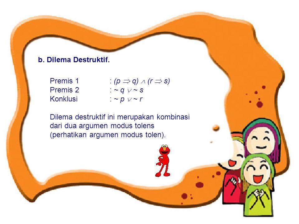 b. Dilema Destruktif. Premis 1 : (p  q)  (r  s) Premis 2 : ~ q  ~ s. Konklusi : ~ p  ~ r.