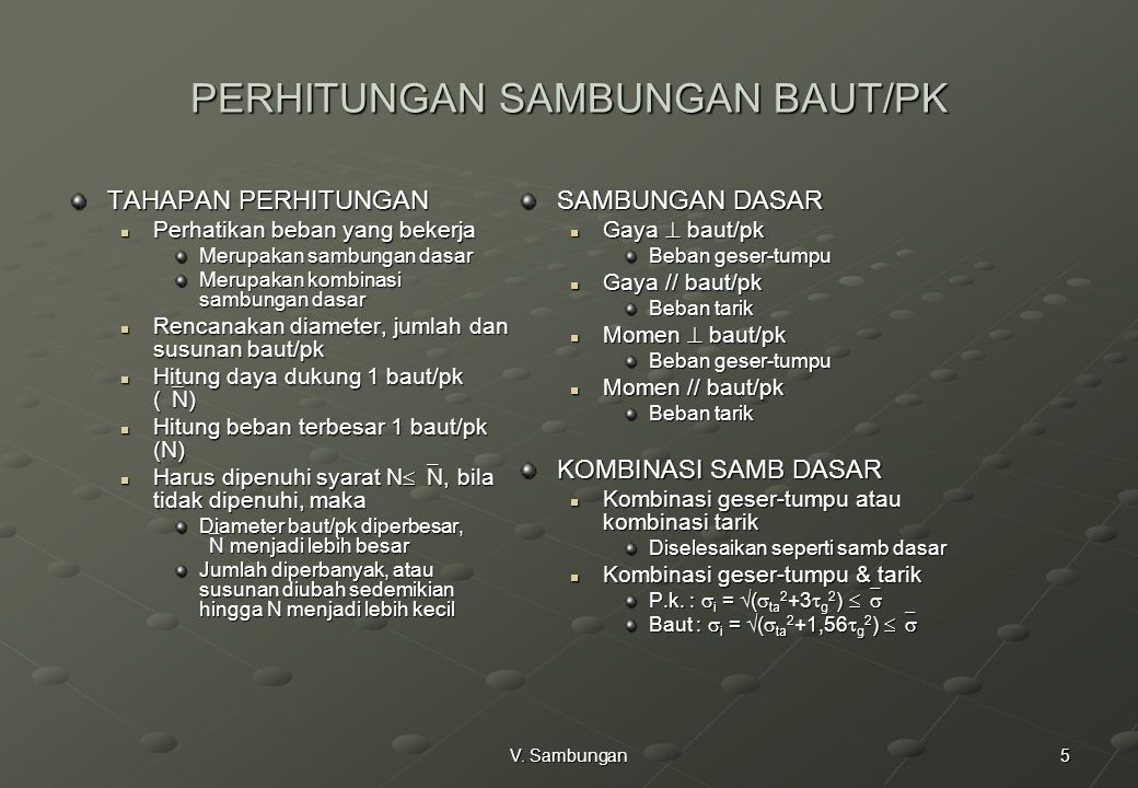 PERHITUNGAN SAMBUNGAN BAUT/PK