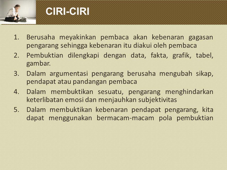 CIRI-CIRI Berusaha meyakinkan pembaca akan kebenaran gagasan pengarang sehingga kebenaran itu diakui oleh pembaca.