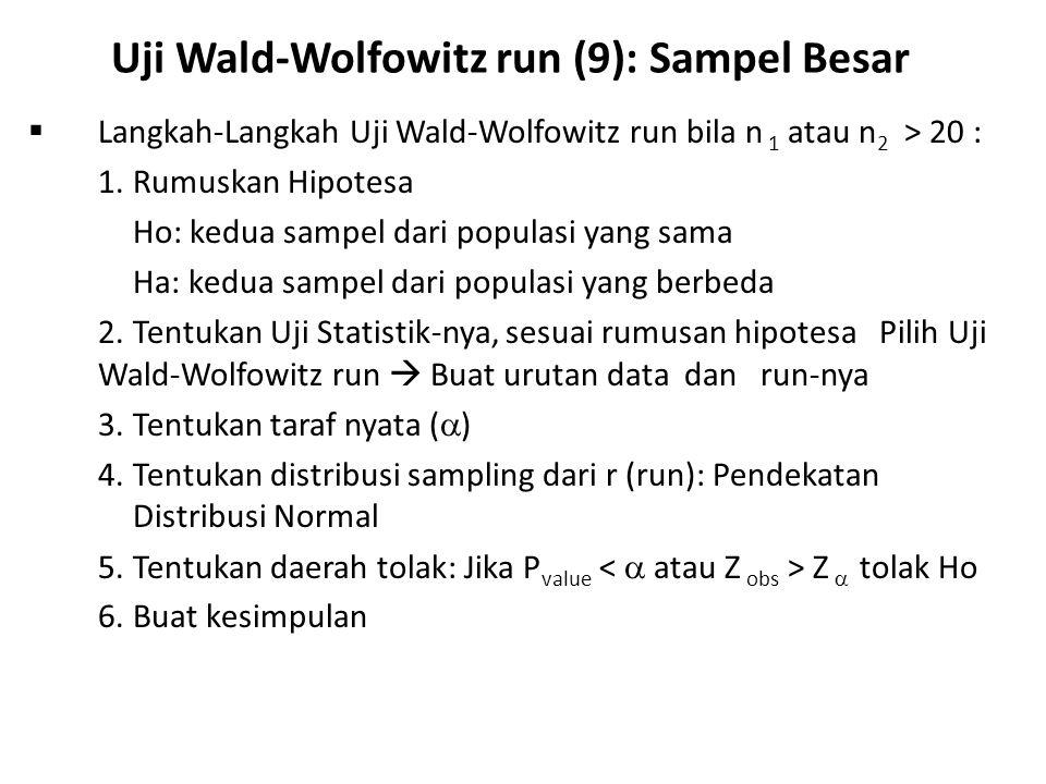 Uji Wald-Wolfowitz run (9): Sampel Besar
