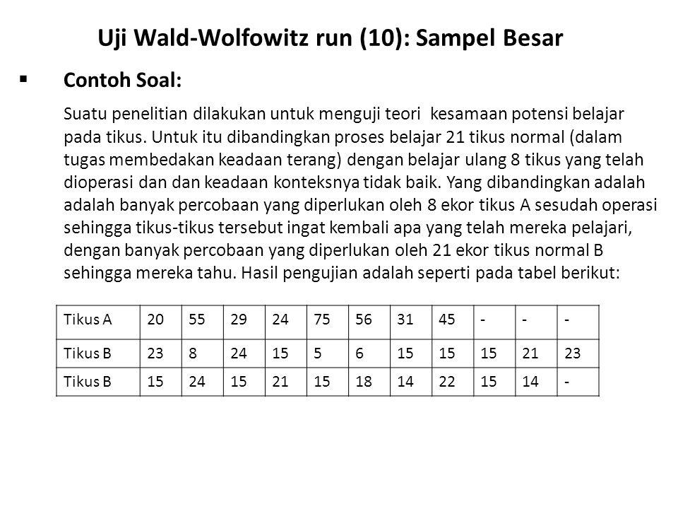 Uji Wald-Wolfowitz run (10): Sampel Besar
