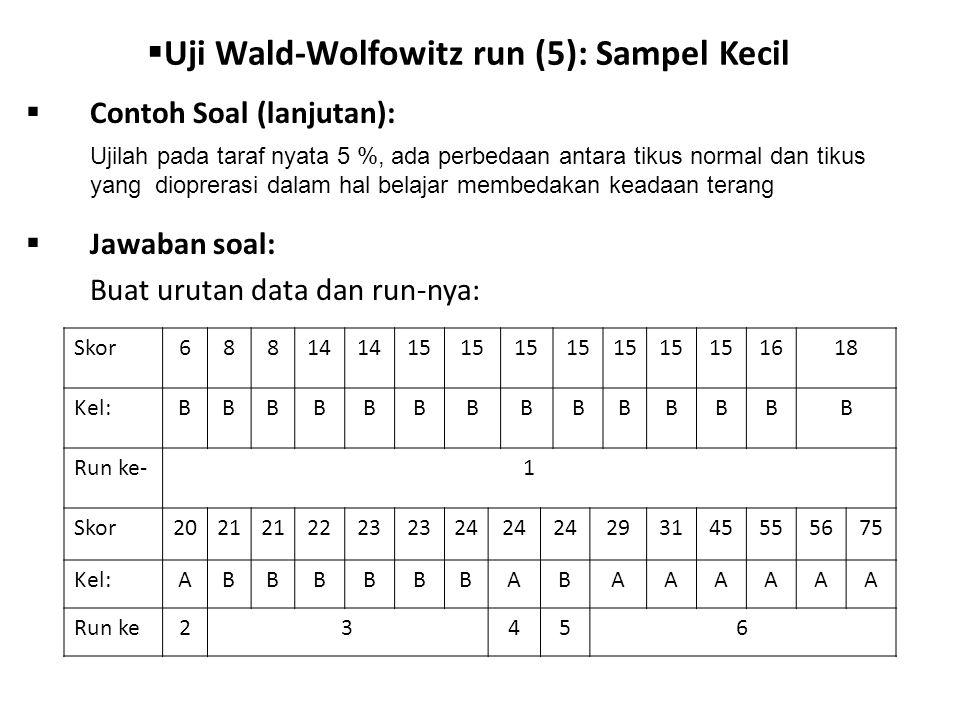 Uji Wald-Wolfowitz run (5): Sampel Kecil