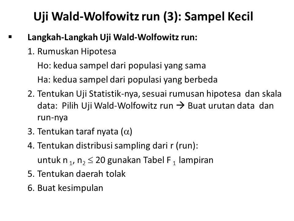 Uji Wald-Wolfowitz run (3): Sampel Kecil