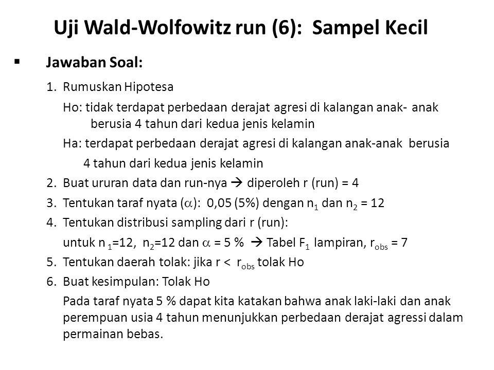 Uji Wald-Wolfowitz run (6): Sampel Kecil