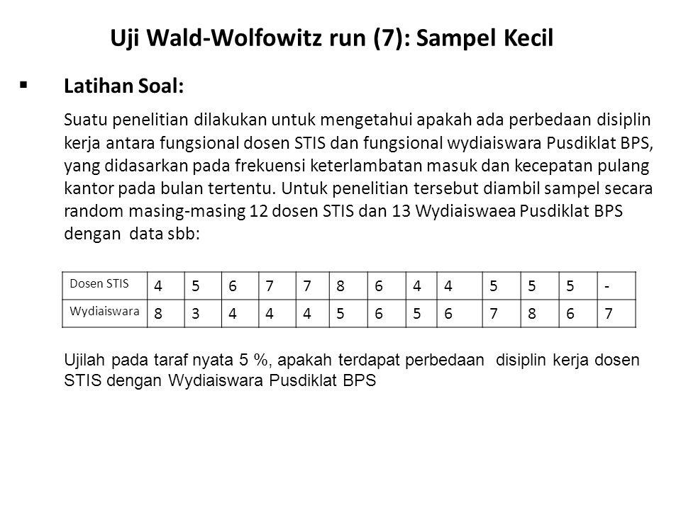 Uji Wald-Wolfowitz run (7): Sampel Kecil