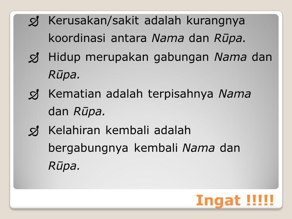Kerusakan/sakit adalah kurangnya koordinasi antara Nama dan Rūpa.