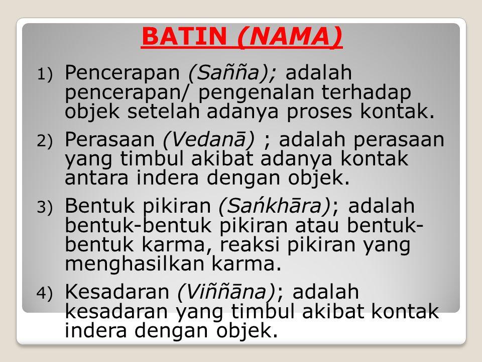BATIN (NAMA) Pencerapan (Sañña); adalah pencerapan/ pengenalan terhadap objek setelah adanya proses kontak.
