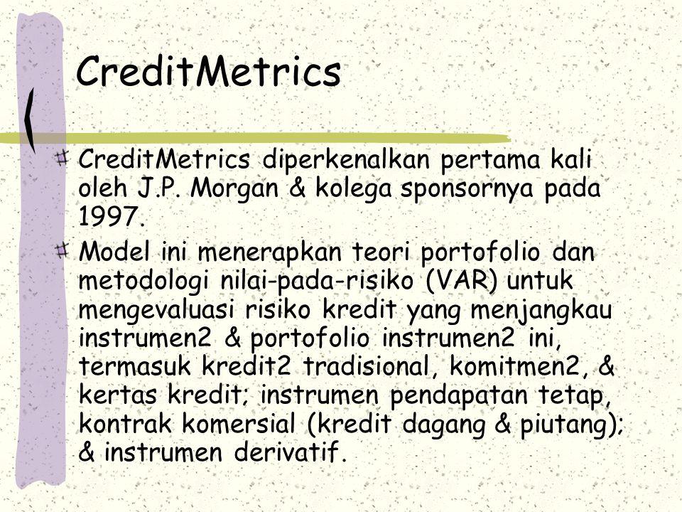 CreditMetrics CreditMetrics diperkenalkan pertama kali oleh J.P. Morgan & kolega sponsornya pada 1997.