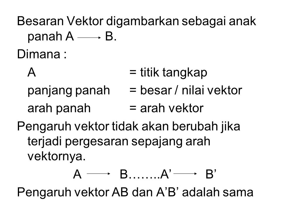 Besaran Vektor digambarkan sebagai anak panah A B.
