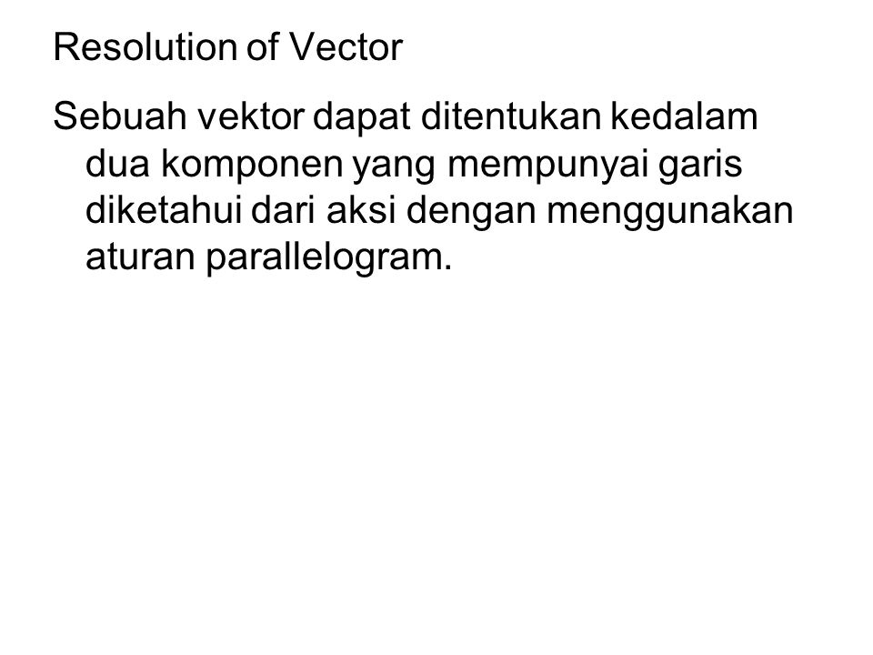 Resolution of Vector