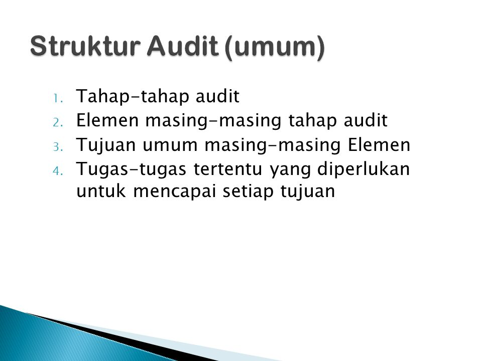 Struktur Audit (umum) Tahap-tahap audit