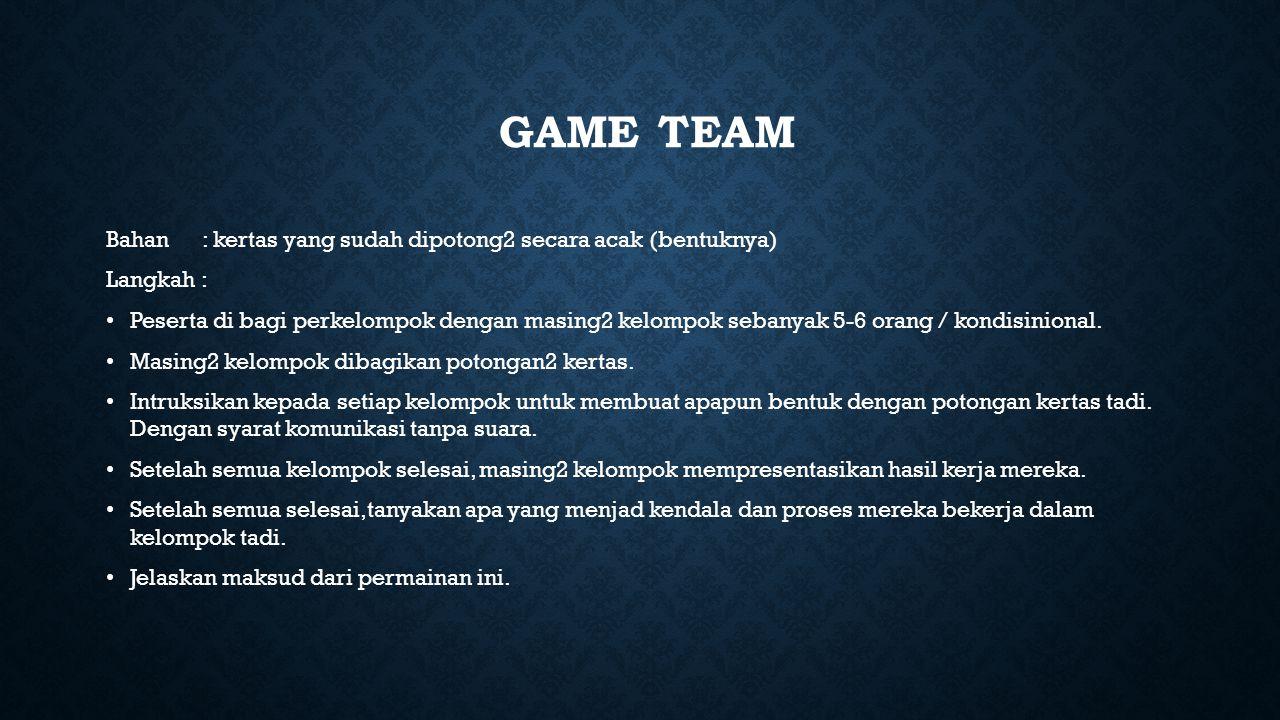 Game team Bahan : kertas yang sudah dipotong2 secara acak (bentuknya)