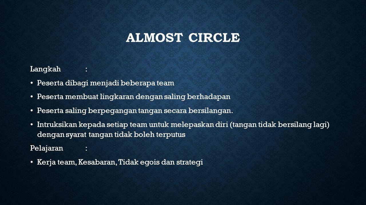 Almost circle Langkah : Peserta dibagi menjadi beberapa team