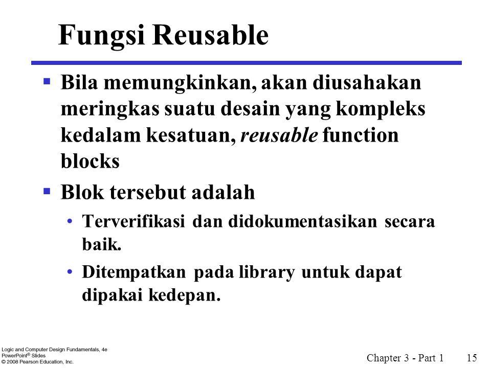 Fungsi Reusable Bila memungkinkan, akan diusahakan meringkas suatu desain yang kompleks kedalam kesatuan, reusable function blocks.