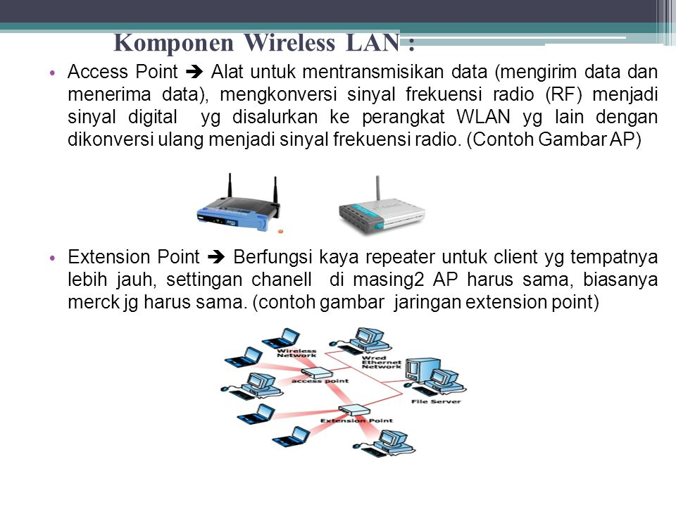 Komponen Wireless LAN :