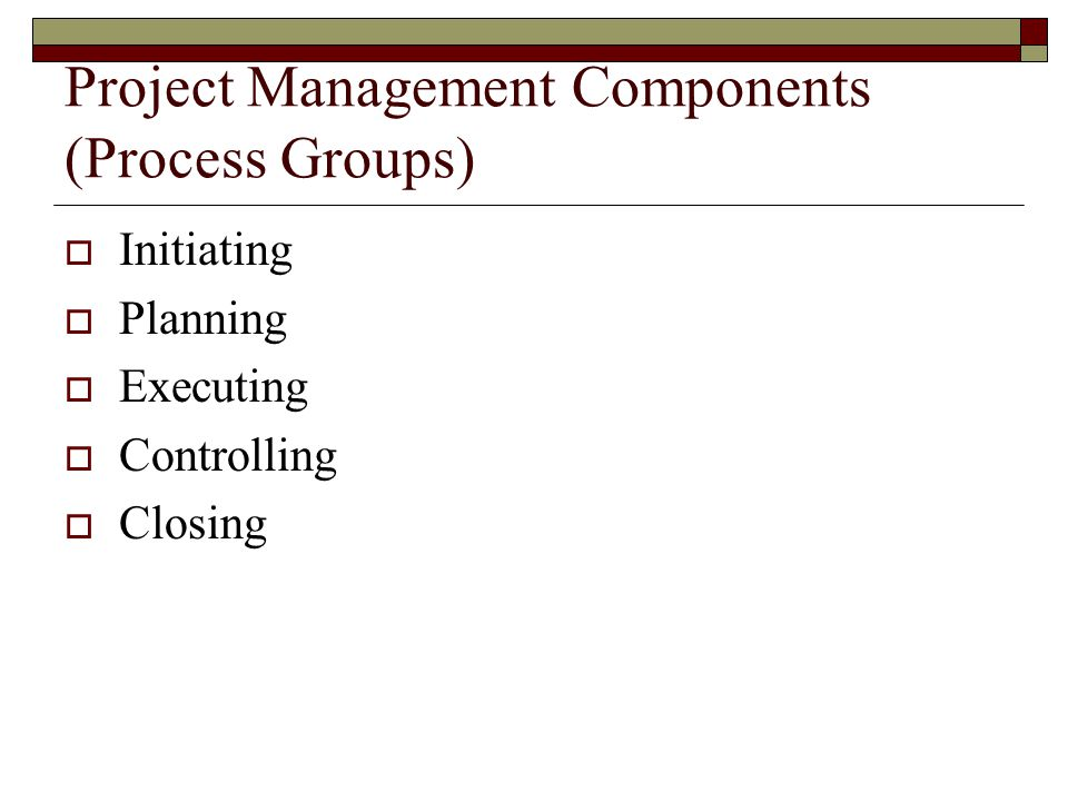 Project Management Components (Process Groups)
