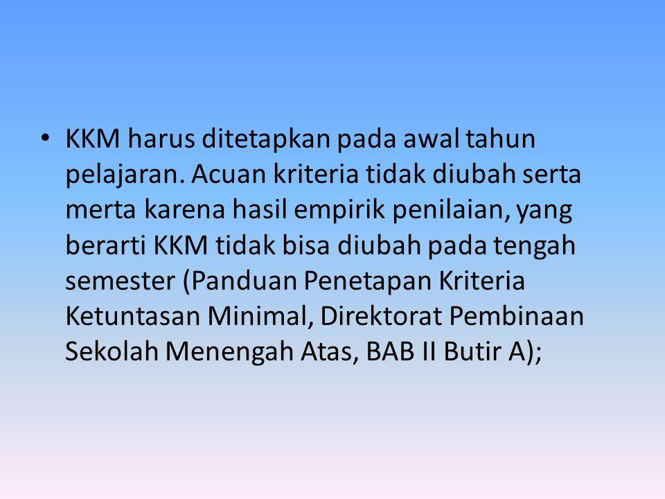 KKM harus ditetapkan pada awal tahun pelajaran