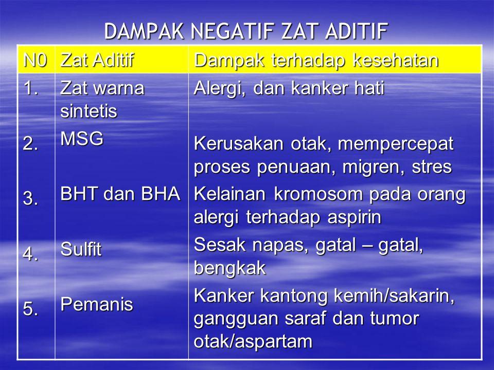 DAMPAK NEGATIF ZAT ADITIF