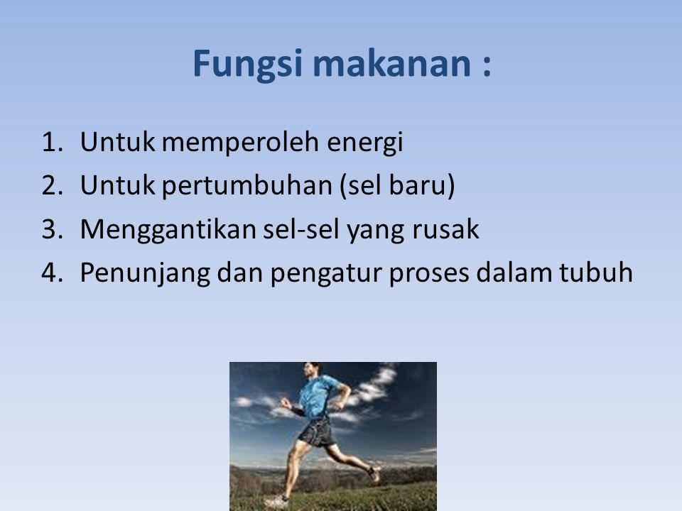 Fungsi makanan : Untuk memperoleh energi Untuk pertumbuhan (sel baru)