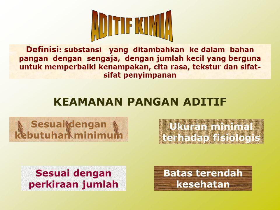 ADITIF KIMIA KEAMANAN PANGAN ADITIF Sesuai dengan kebutuhan minimum