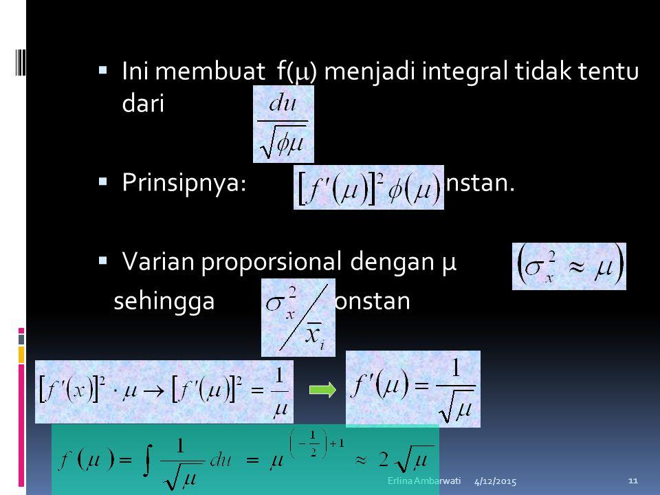 Ini membuat f() menjadi integral tidak tentu dari