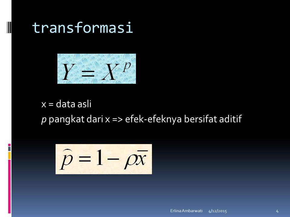 transformasi x = data asli