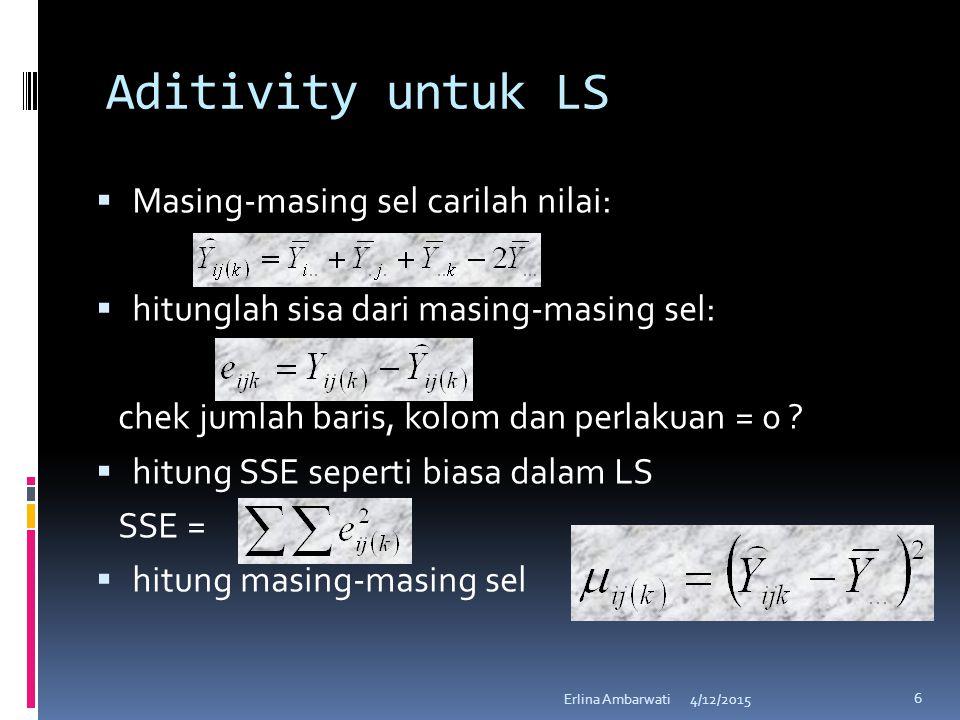 Aditivity untuk LS Masing-masing sel carilah nilai: