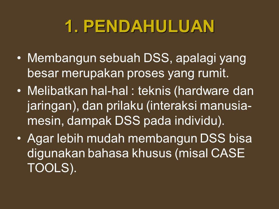 1. PENDAHULUAN Membangun sebuah DSS, apalagi yang besar merupakan proses yang rumit.
