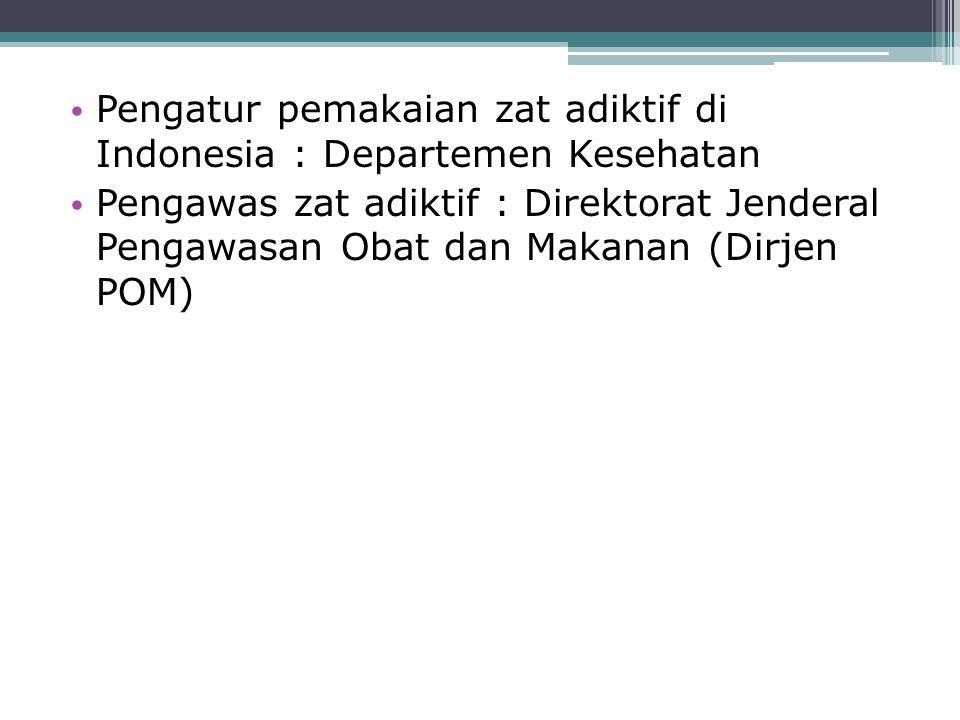 Pengatur pemakaian zat adiktif di Indonesia : Departemen Kesehatan