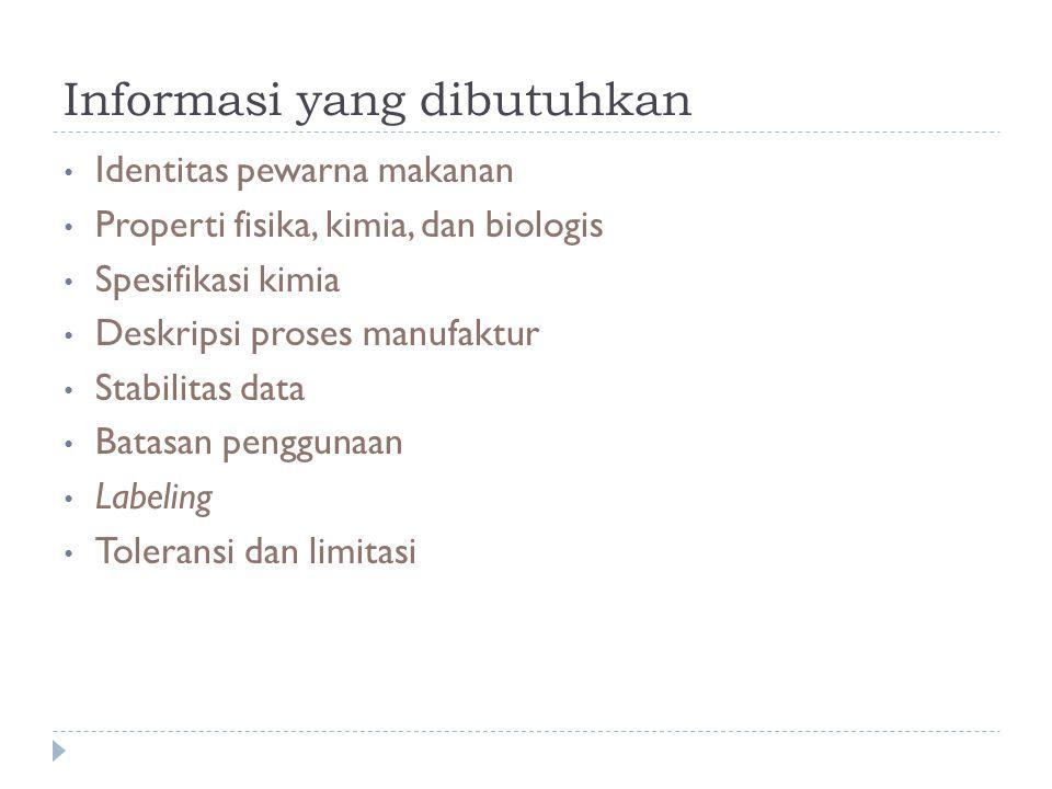 Informasi yang dibutuhkan