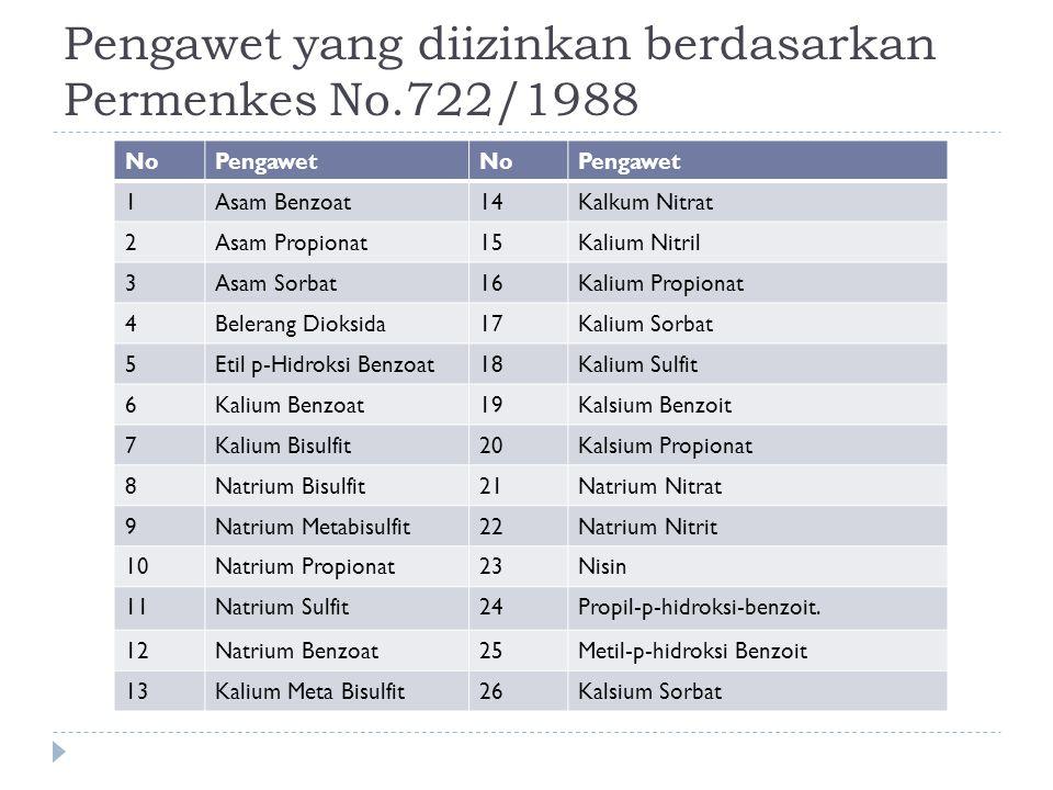 Pengawet yang diizinkan berdasarkan Permenkes No.722/1988