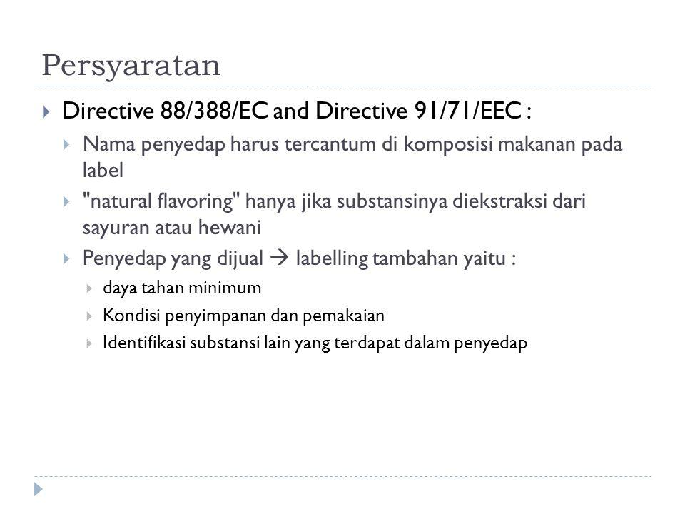 Persyaratan Directive 88/388/EC and Directive 91/71/EEC :