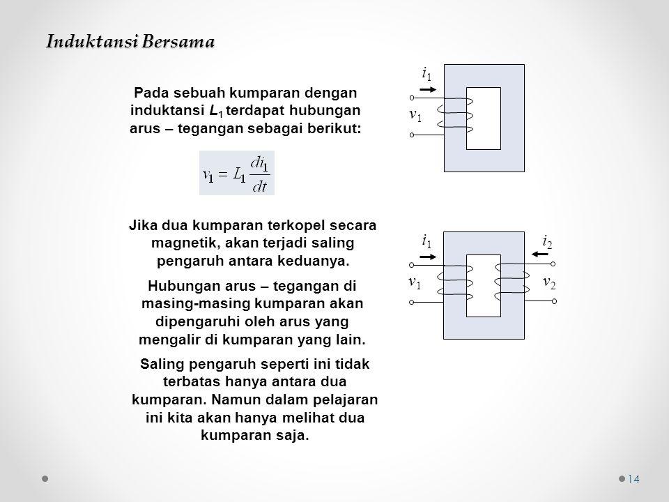 Induktansi Bersama i1 v1 i1 i2 v1 v2