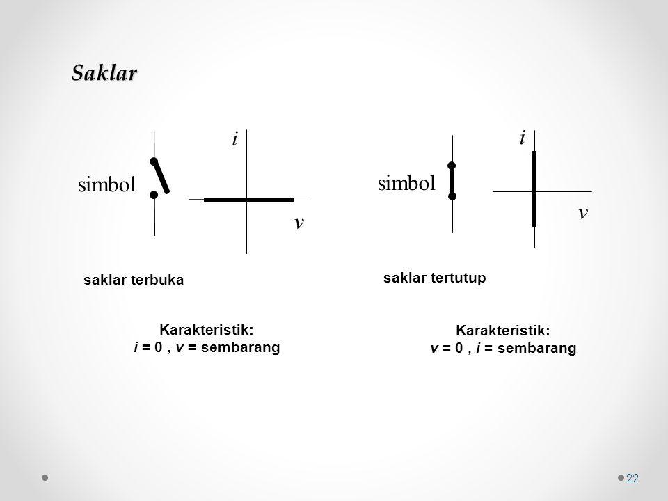 Saklar i i simbol simbol v v saklar tertutup saklar terbuka