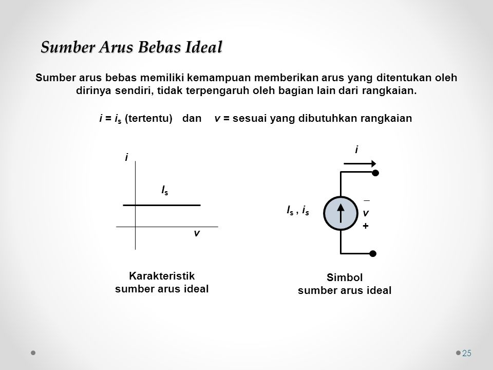 i = is (tertentu) dan v = sesuai yang dibutuhkan rangkaian