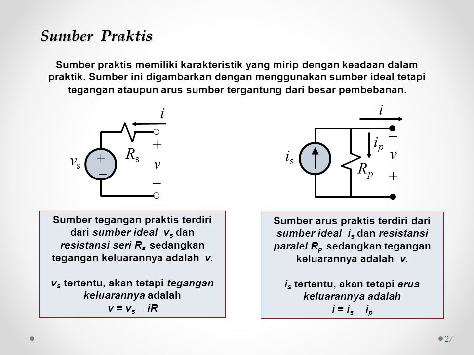 Sumber Praktis  v + Rp is i ip i Rs + v  vs _