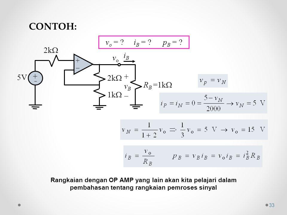 CONTOH: vo = iB = pB = 2k iB vo 5V vB RB =1k 1k + 