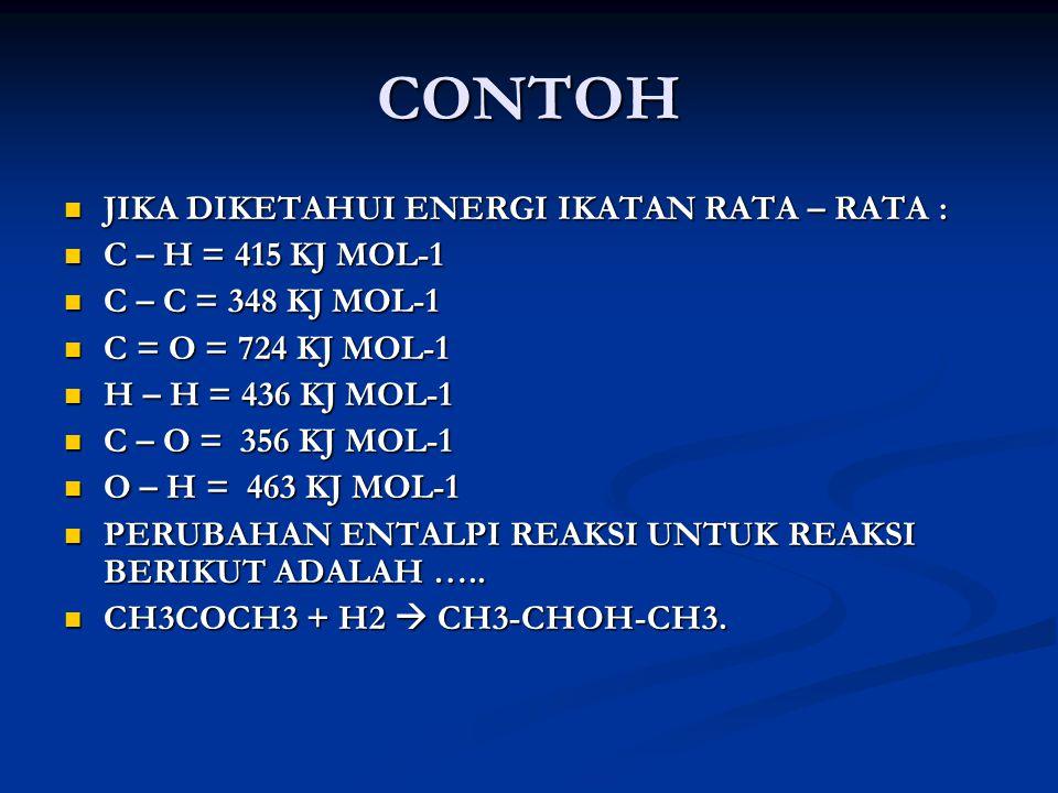 CONTOH JIKA DIKETAHUI ENERGI IKATAN RATA – RATA : C – H = 415 KJ MOL-1