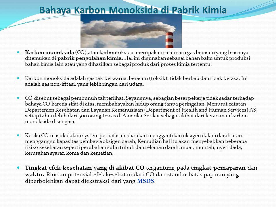 Bahaya Karbon Monoksida di Pabrik Kimia