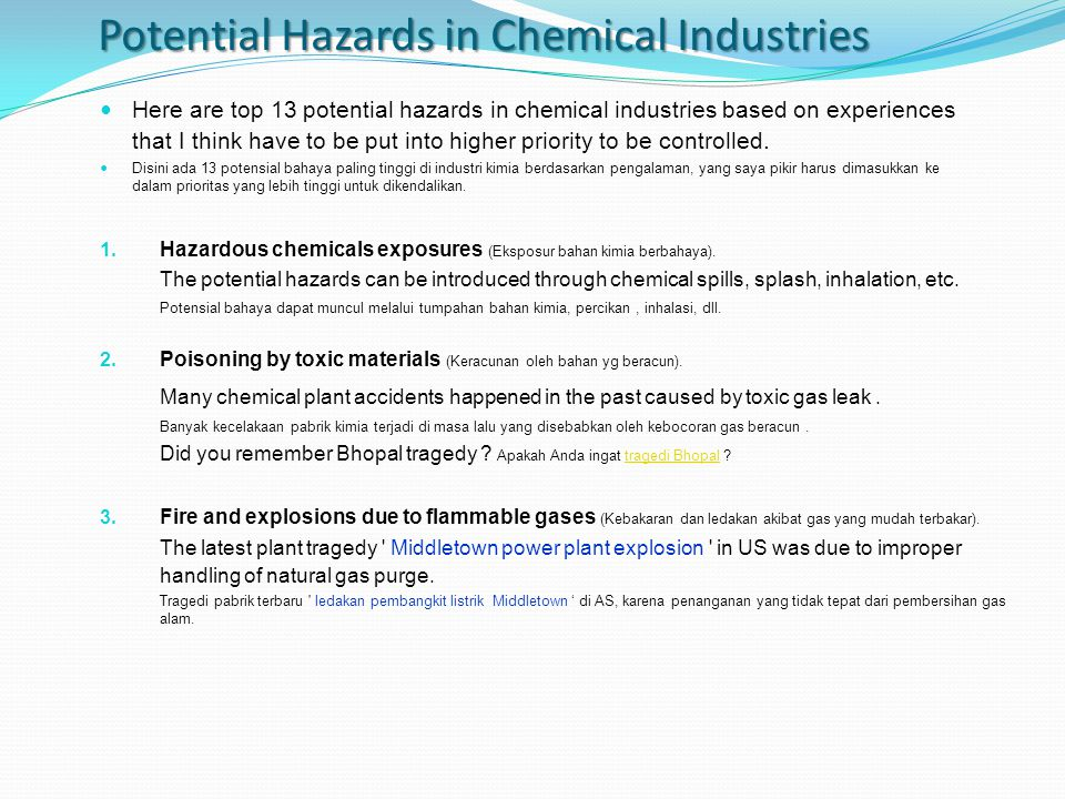 Potential Hazards in Chemical Industries
