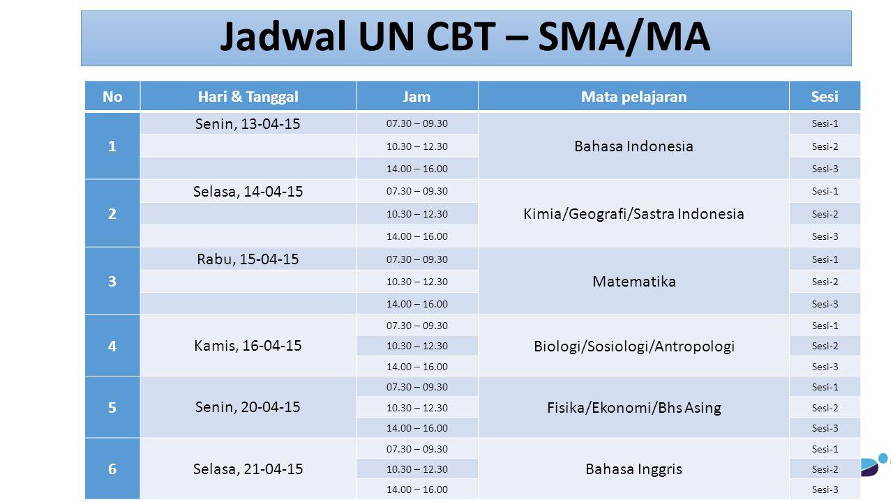 Jadwal UN CBT – SMA/MA No Hari & Tanggal Jam Mata pelajaran Sesi 1